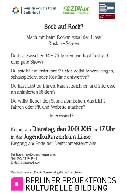 Rockmusical der Linse-Rockin -Screen