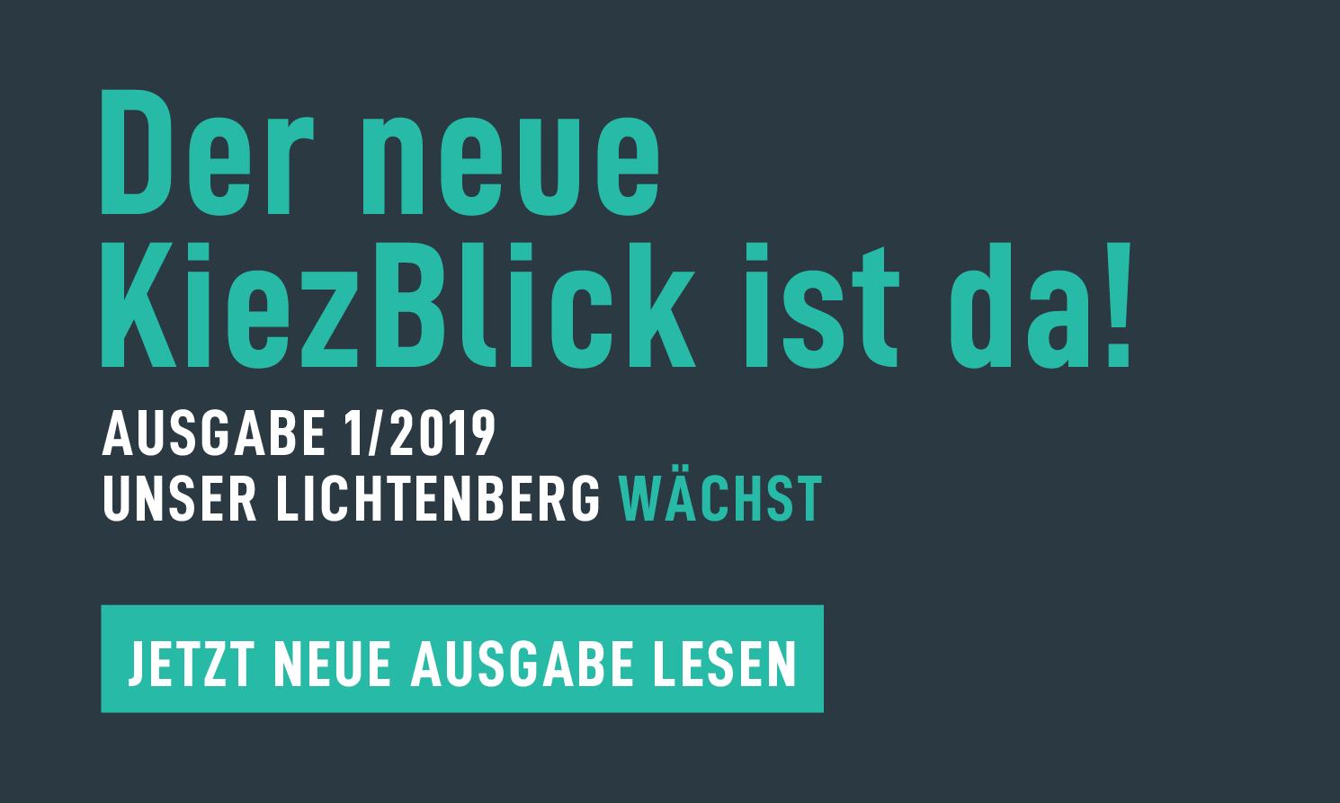 Banner für den Kiezblick Ausgabe 1 2019
